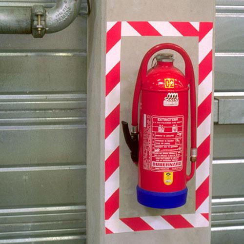 Bandă adezivă pentru marcare - Alb/Roşu